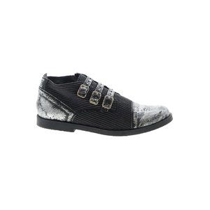 Luccini Silver/Black Leather Boys Buckle Loafers
